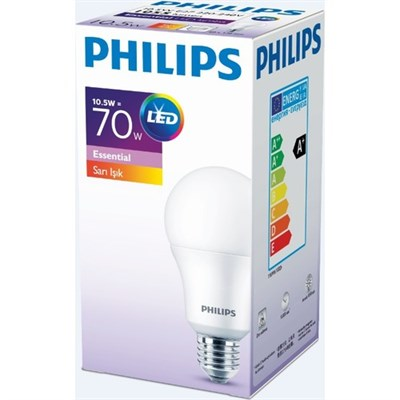 PHİLİPS ESSENTİAL LED AMPUL 10.5-70W SARI RENK E27 NORMAL DUY