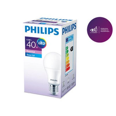 PHİLİPS ESSENTİAL LED AMPUL 5,5-40W BEYAZ RENK E27 NORMAL DUY