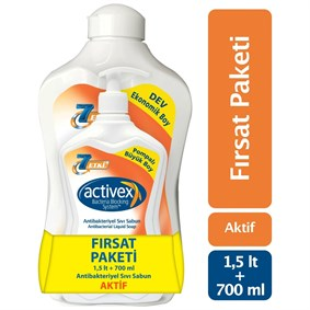 ACTİVEX ANTİBAKTERİYEL SIVI SABUN AKTİF 1.5 LT & 700 ML FIRSAT PAKETİ