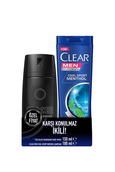 AXE DEODORANT SPREY BLACK 150 ML+Clear Men Şampuan 180 ML Hediye