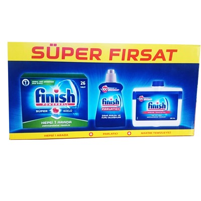 FİNİSH 3 LU SET (26 TABLET+MAKİNA TEMİZLEYİCİ+PARLATICI)